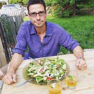 Scrumptious salad, sexy husband...and homemade margaritas...heaven!