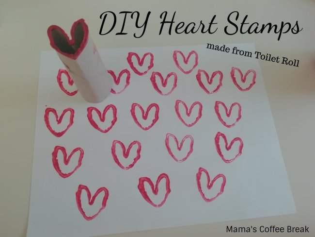 DIY Heart Stamps made from Toilet Roll - Mama's Coffee Break