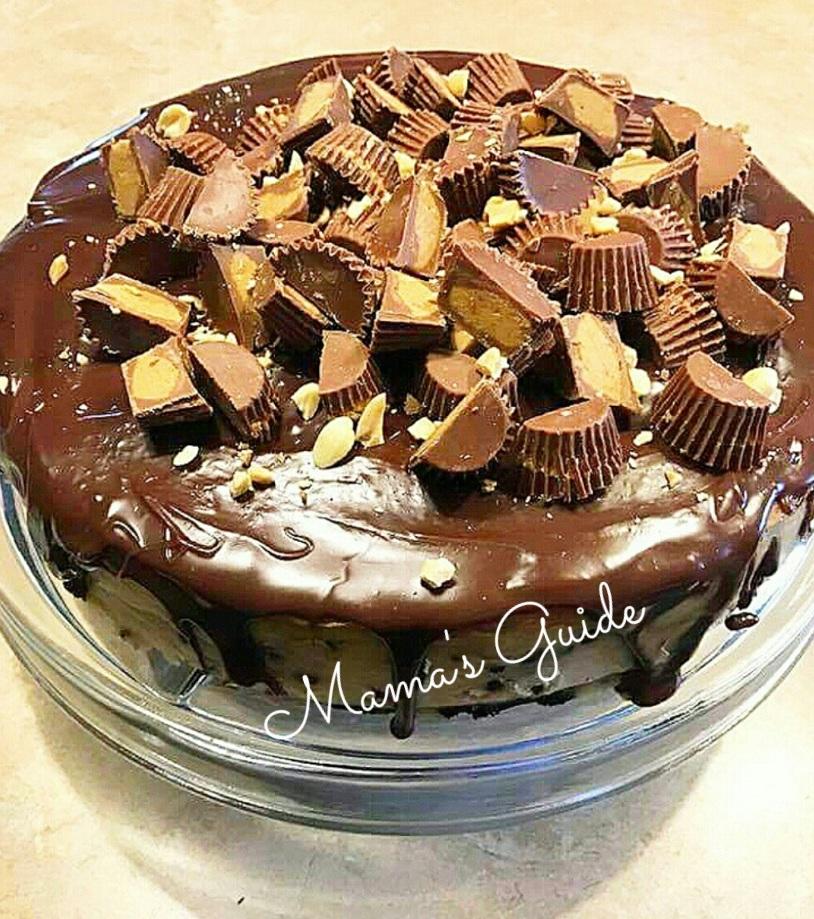 No Bake Reese's Peanut Butter Oreo Cheesecake