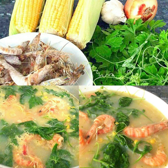 Suam na Mais (Corn Vegetable Soup with Shrimp)