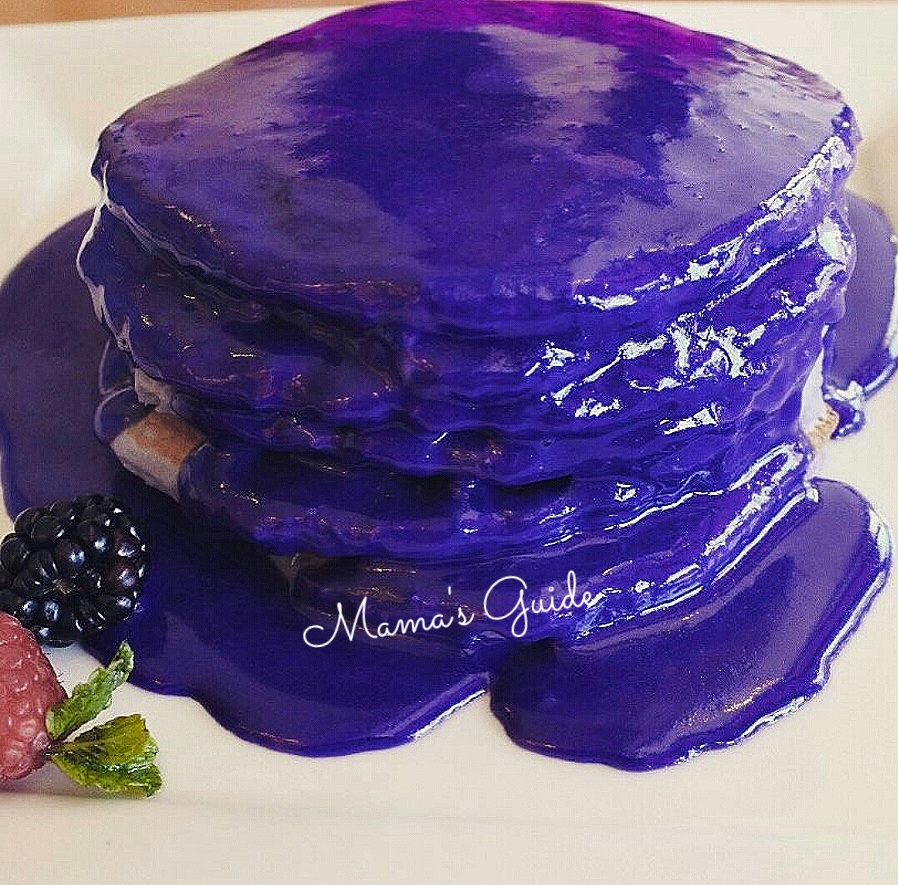 Yogurt Ube Pancake with Ube Glaze