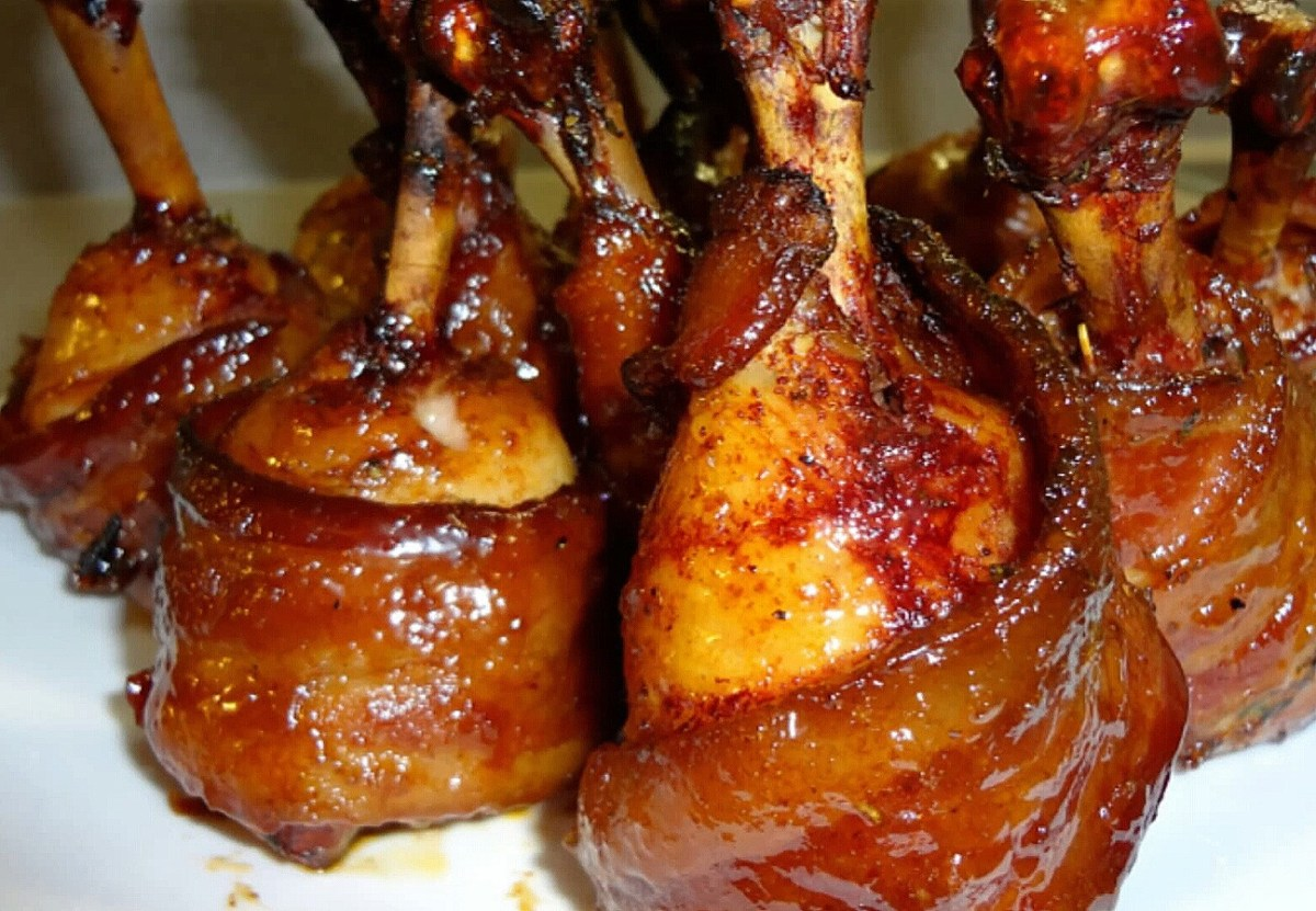 Bacon Wrapped BBQ Chicken Lollipops