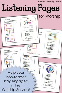 Keep your little ones engaged in the Worship Service with these Listening Pages for Non-Readers!