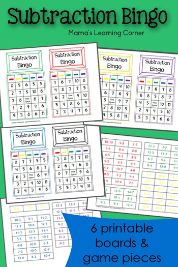 Subtraction Bingo Mamas Learning Corner