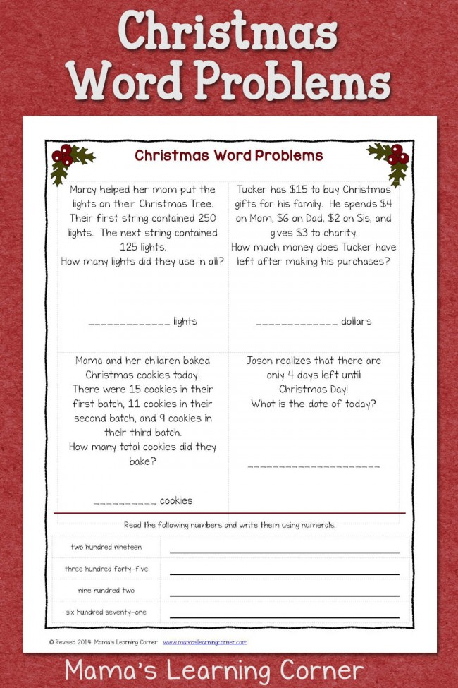 Christmas Word Problems: Free Worksheet