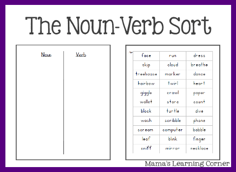 The Noun Verb Sort from Mama's Learning Corner