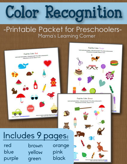 9-page set of Preschool Color Recognition Packet