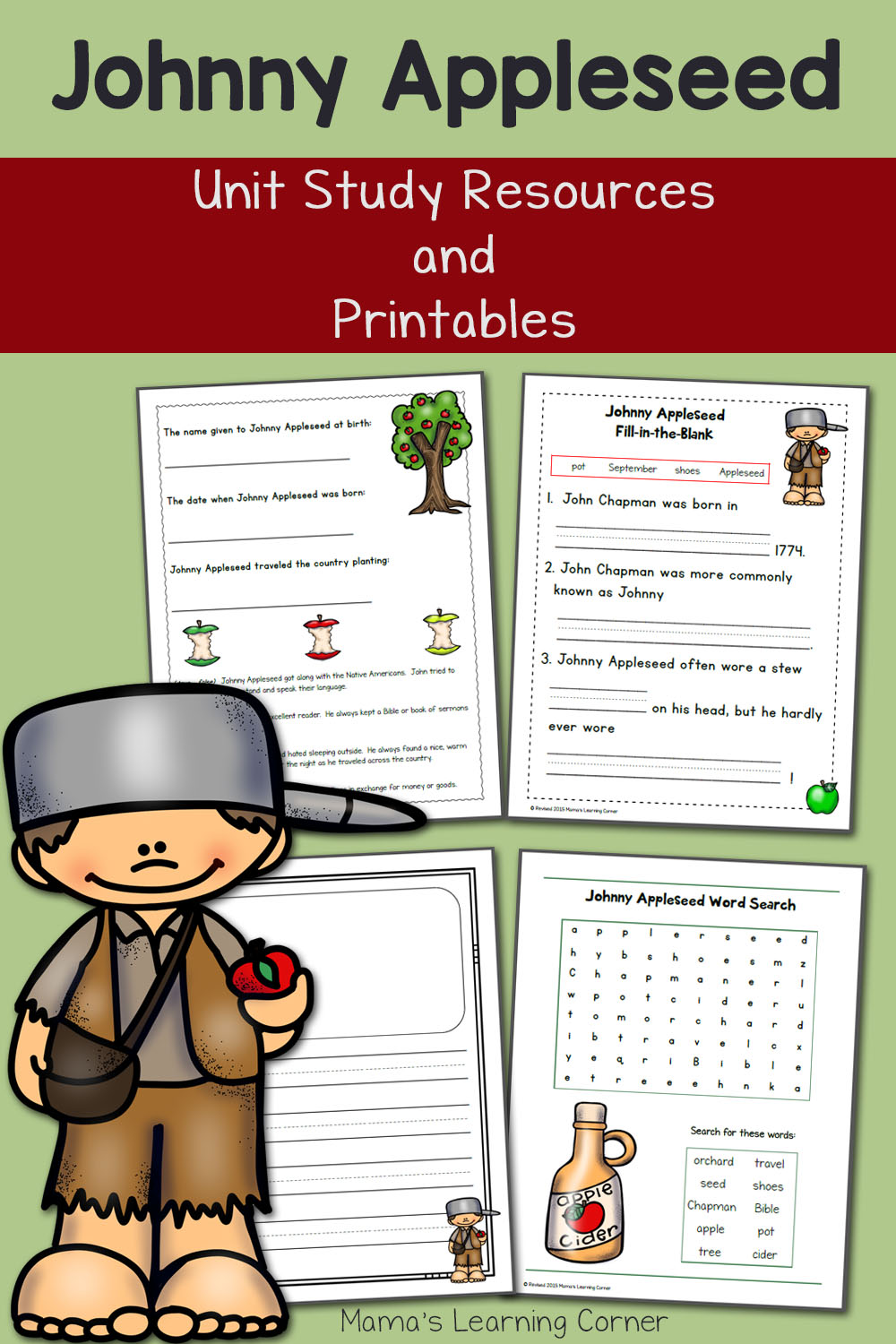 Johnny Appleseed Printables and Unit Study Resources - Mamas