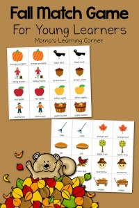 Free Printable Fall Match Game