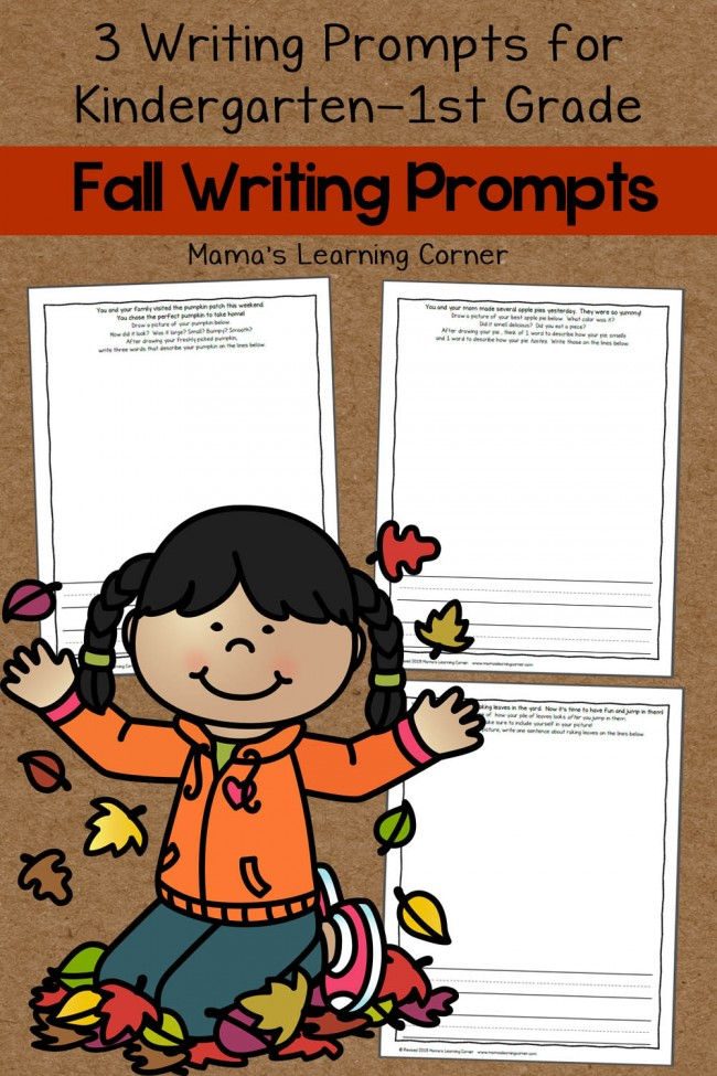 Set of 3 Fall Writing Prompts for Kindergarten-First Grade