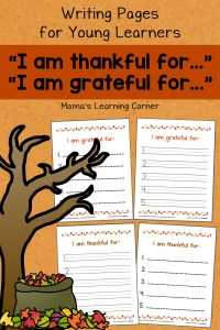 """I am thankful for…"" Writing Pages"