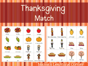 Free Printable Thanksgiving Matching Game for Preschoolers and Early Kindergartners