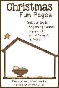 Christmas Worksheets: 15-page printable packet for Kindergarten-First Grade