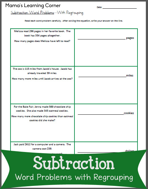 Subtraction Word Problems with Regrouping - Mamas Learning ...
