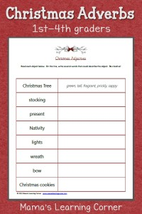 Christmas Adjectives Worksheet: Free printable for 1st-4th graders