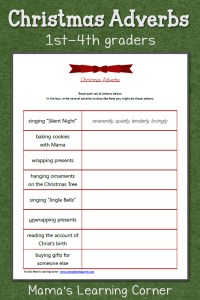 Christmas Adverbs Worksheet