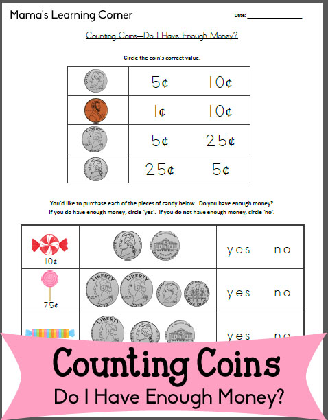 Free Worksheet: Counting Coins - Do I Have Enough Money?