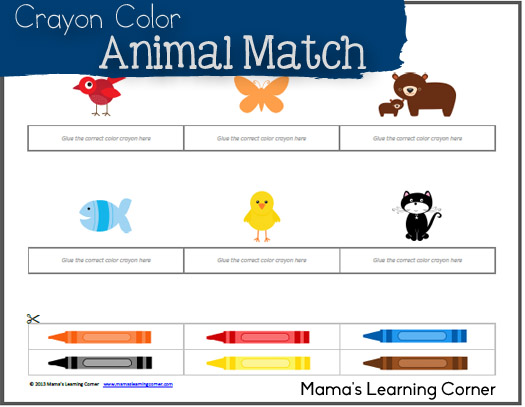 Crayon Color Animal Match - cut & paste activity for Preschool - Kindergarten