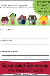 Scrambled Sentences Worksheet: My Neighborhood