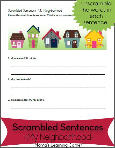 Scrambled Sentences Worksheet for 1st-2nd Graders