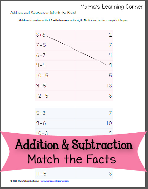 Addition And Subtraction Match The Facts