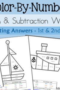 Color By Number Addition and Subtraction Worksheets – Mental Math for 1st and 2nd Graders