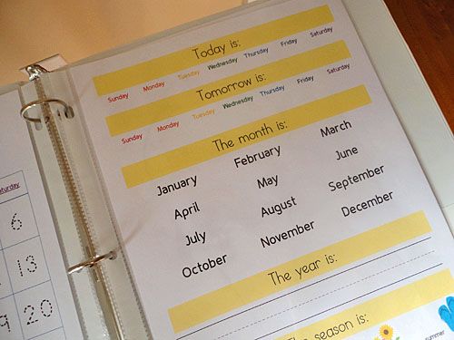 Preschool Calendar Notebook Pages Pages
