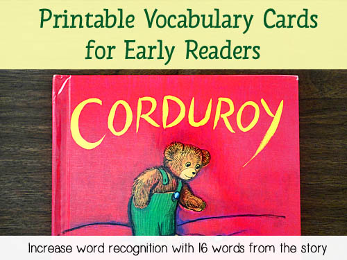 Corduroy Printable Vocabulary Cards - Download 16 printable vocabulary words taken from the story