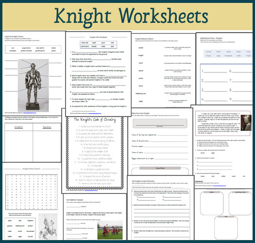 Knight Worksheets for 1st-3rd Graders