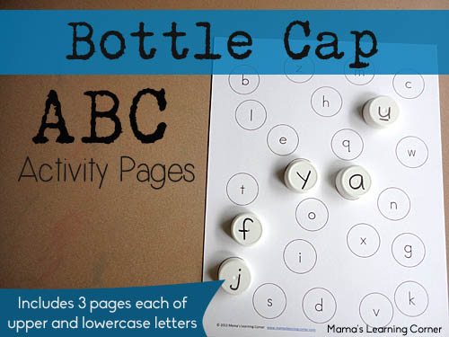 Bottle Cap ABC Matching Pages for Preschool and Early Kindergarten
