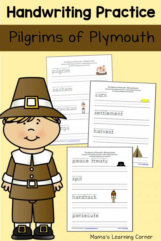 Pilgrims at Plymouth Handwriting Practice