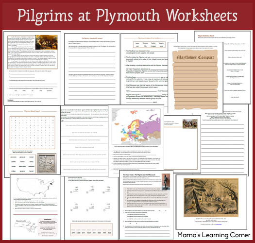 13-pagePilgrims at Plymouth Worksheets - including definitions, word search, writing activities, map work, Pilgrim-themed math pages, and more!  For 1st-3rd graders.