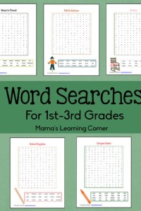 Word Searches for 1st-3rd Graders