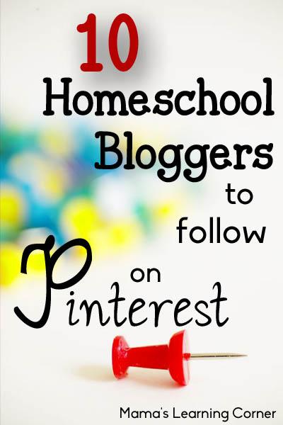 10 Homeschool Bloggers to follow on Pinterest