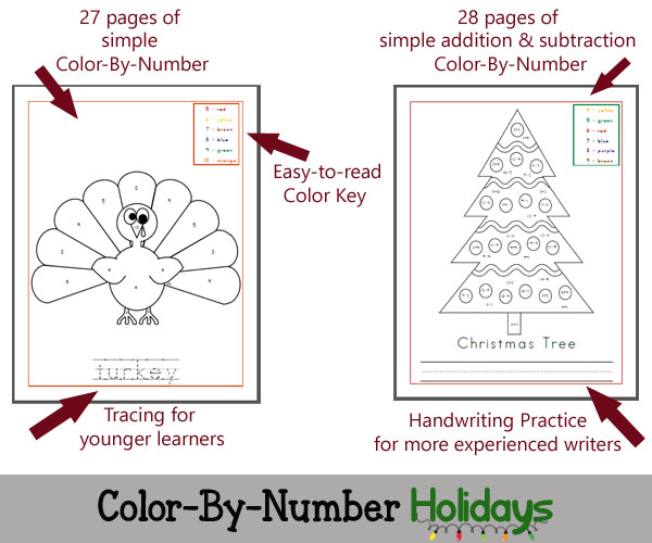 Features of Color By Number Holidays - 55 pages of coloring fun!