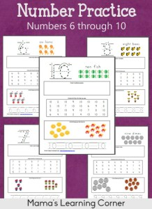 Number Practice Worksheets: 6 through 10 - for Preschoolers and Early Kindergartners