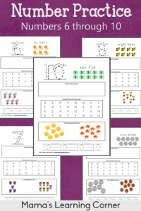 Number Practice Worksheets: 6 through 10