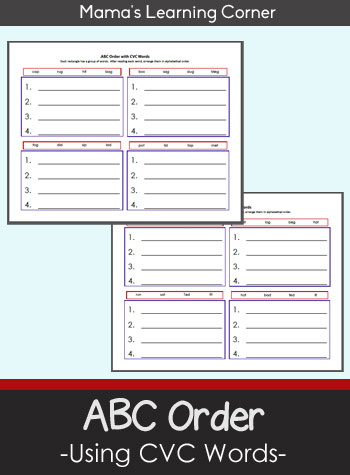 ABC Order with CVC Words - set of 2 worksheets