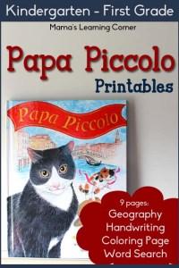 Papa Piccolo Printables for Kindergarten-First Grade