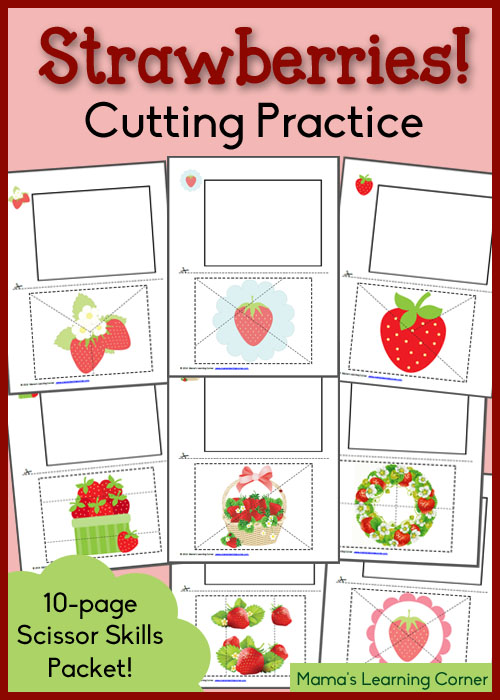Strawberry Cutting Practice Worksheets