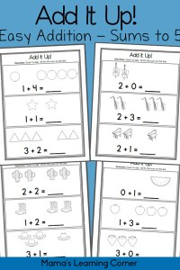 Add It Up! Addition Worksheets – Sums to 5