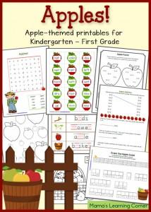Free Apple Worksheets for Kindergarten-First Grade