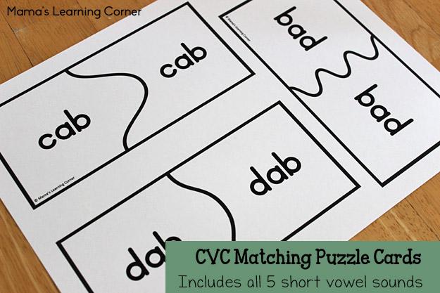 CVC Matching Puzzle Cards All 5 Short Vowel Sounds