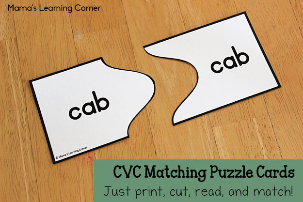 CVC Matching Puzzle Cards - Just print, cut, read, and match!
