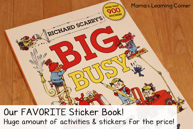 Our favorite sticker book is Richard Scarry's Big Busy Sticker & Activity Book!