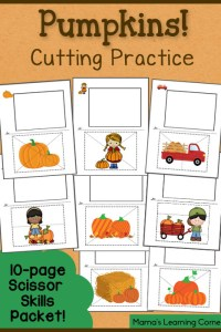 Cutting Practice Worksheets: Pumpkins!