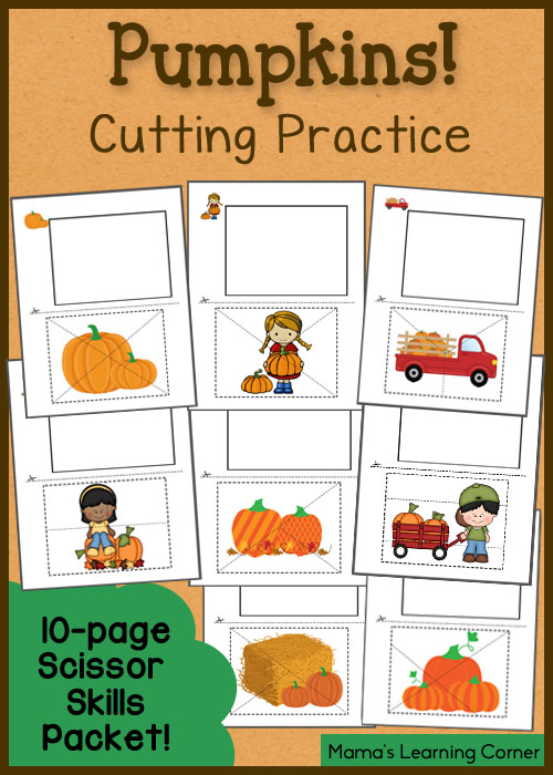 Pumpkin Cutting Practice: 10 pages of free printables!