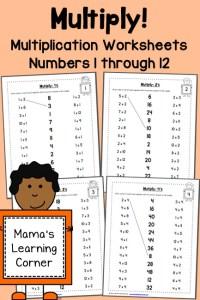 Multiplication Worksheets: Numbers 1 through 12