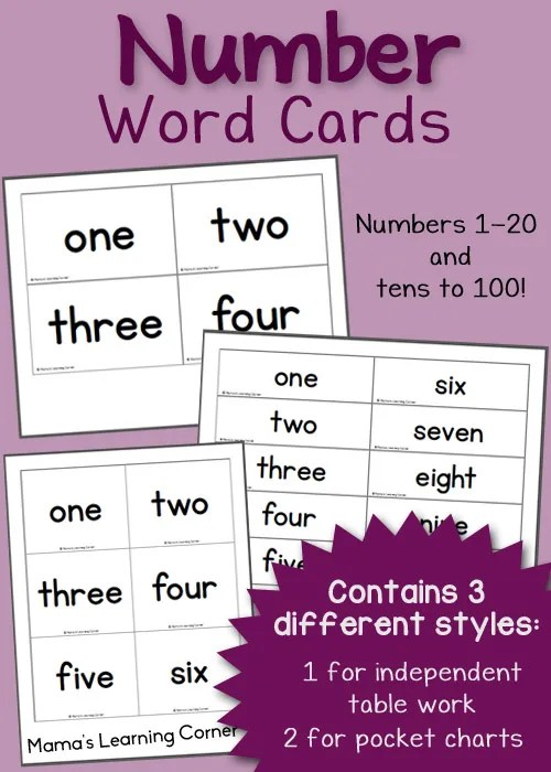 Free printable Number Word Cards: includes 1-20 and tens to 100!