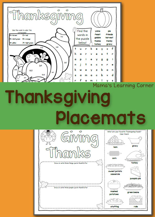 photo relating to Thanksgiving Placemats Printable known as Printable Thanksgiving Placemats - Mamas Mastering Corner